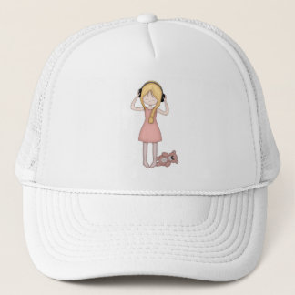 Whimsical Young Girl with Music Headphones Trucker Hat