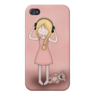 Whimsical Young Girl with Music Heads Case For iPhone 4