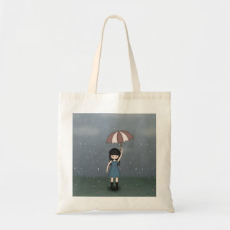Whimsical Young Girl with Umbrella in the Rain Budget Tote Bag