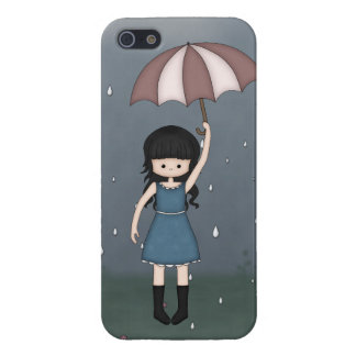 Whimsical Young Girl with Umbrella in the Rain iPhone 5/5S Case