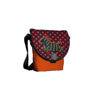 Whimsical Zebra & Funky Stars Messenger Bag