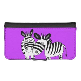 whimsical zebras phone wallet case