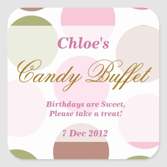WhimsicalDotty Birthday Candy Buffet Sticker