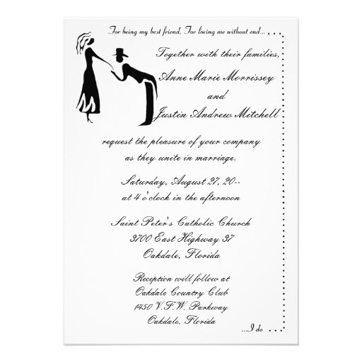 Whimsicle Couple SILHOUETTE Wedding Invitations