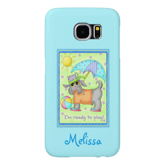 Whimsy Beach Dog Ready to Play Turquoise Name Samsung Galaxy S6 Cases