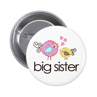 Whimsy Birds Big Sister T-shirt Announcement 6 Cm Round Badge
