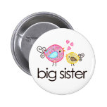 Whimsy Birds Big Sister T-shirt Announcement Pinback Button