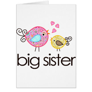 Whimsy Birds Big Sister T-shirt Announcement Cards