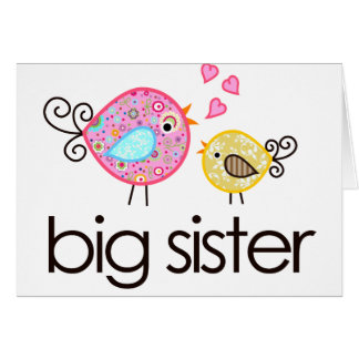 Whimsy Birds Big Sister T-shirt Announcement Greeting Card