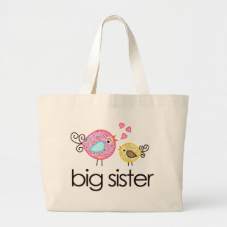 Whimsy Birds Big Sister T-shirt Announcement Large Tote Bag