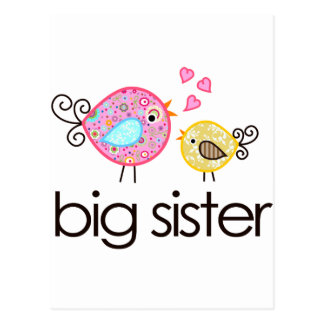 Whimsy Birds Big Sister T-shirt Announcement Postcard