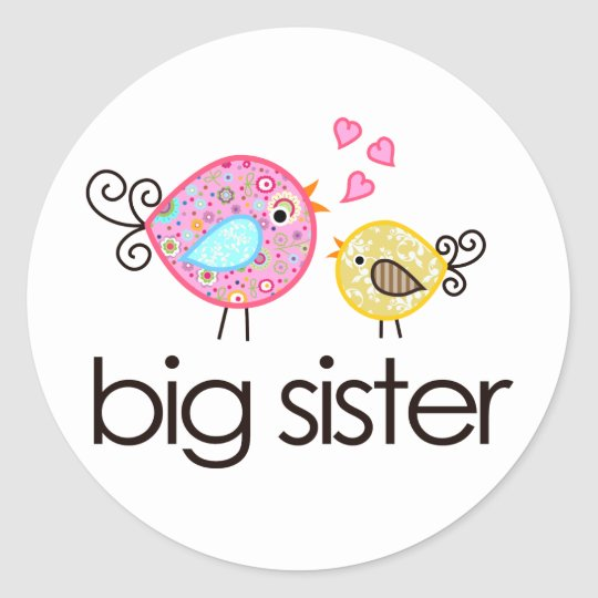 Whimsy Birds Big Sister T-shirt Announcement Round Sticker