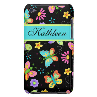Whimsy Butterflies on Black Custom Name Barely There iPod Cover