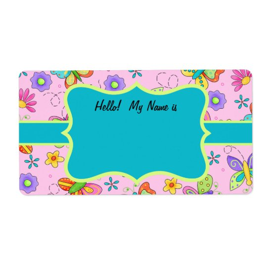 Whimsy Butterflies Pink Turquoise Name Tag Shipping Label