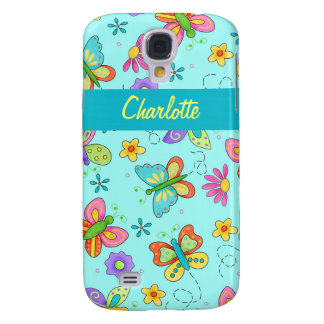 Whimsy Butterflies Turquoise Blue Name Personal Galaxy S4 Case