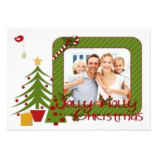 Whimsy Christmas Trees, Bird, Stripes Photo Card
