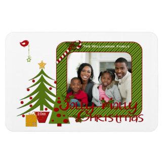 Whimsy Christmas Trees Bird Stripes Photo Magnet