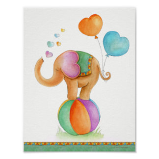 Whimsy circus elephant brown green nursery poster