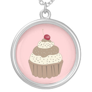 whimsy Cupcake Round Pendant Necklace