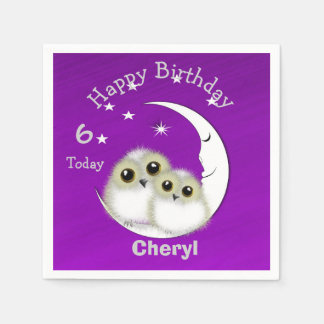 Whimsy Cute Snowy Owls Crescent Moon Personalized Disposable Serviettes