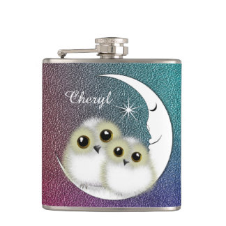 Whimsy Cute Snowy Owls Crescent Moon Personalized Hip Flask