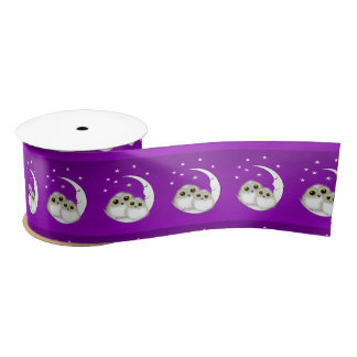 Whimsy Cute Snowy Owls Crescent Moon Purple Satin Ribbon
