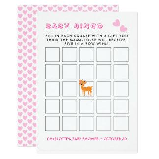 Whimsy Deer Pink Winter | Baby Shower Bingo Game Card