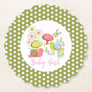 Whimsy Fairy-tale Spring Garden Baby Girl Shower Paper Coaster
