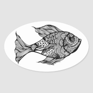 Whimsy Fish Doodle Art Oval Sticker