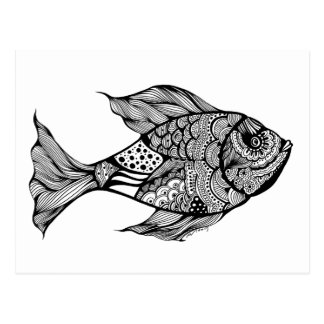Whimsy Fish Doodle Art Postcard