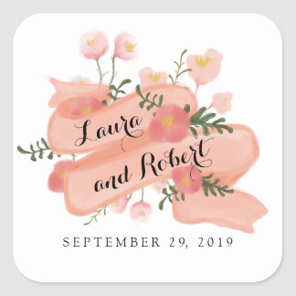 Whimsy Floral Vintage Banner Custom Wedding Favor Square Sticker