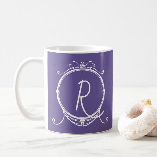 Whimsy Fun Vintage Modern Monogram Purple Coffee Mug