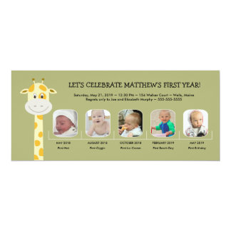 Whimsy Giraffe Baby Boy's First Birthday Year 10 Cm X 24 Cm Invitation Card