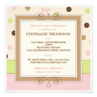 Whimsy Girl Pink Polka Dot Baby Shower Invitation