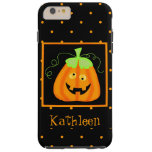 Whimsy Halloween Pumpkin Black Name Personalised Tough iPhone 6 Plus Case