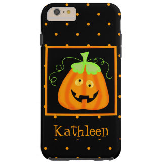 Whimsy Halloween Pumpkin Black Name Personalized Tough iPhone 6 Plus Case