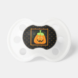 Whimsy Halloween Pumpkin on Black Baby Pacifier