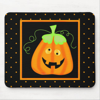 Whimsy Halloween Pumpkin on Black Mouse Pad