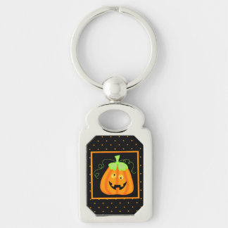 Whimsy Halloween Pumpkin on Black Key Chains