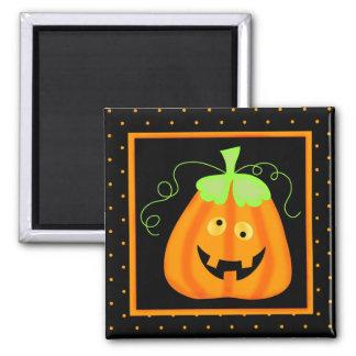 Whimsy Halloween Pumpkin on Black Square Magnet