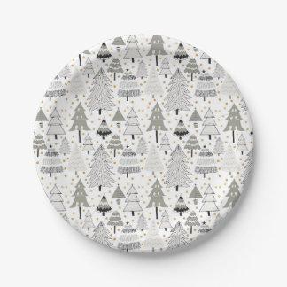 Whimsy hand drawn Christmas Tree Farm pattern Paper Plate