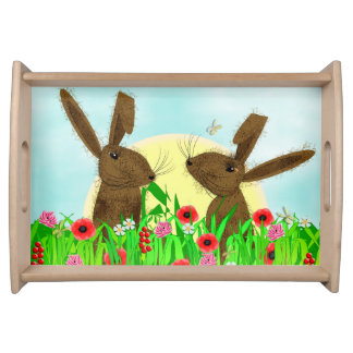Whimsy March Hare Spring Flowers Serving Tray