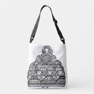 Whimsy Menina Doodle Art Crossbody Bag