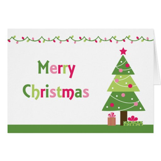 Whimsy merry christmas tree lights greeting card