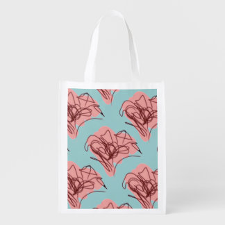 Whimsy Pink Flower Print on Blue Background Grocery Bag