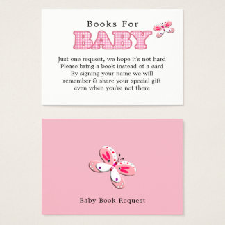 Whimsy Pink White Pretty Butterfly Girl Baby Book Business Card