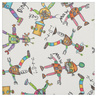 Whimsy Robots watercolor illustrations by Grey Fabric