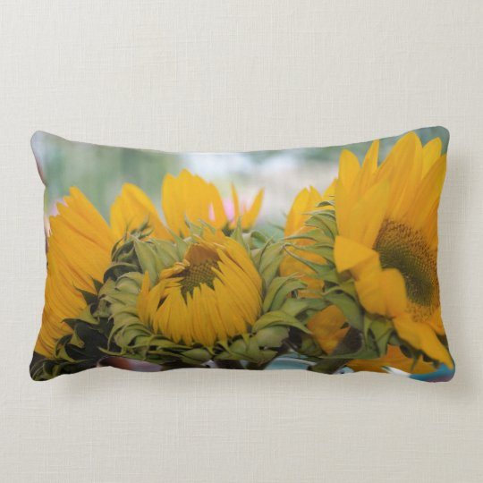 Whimsy Rustic Sunflower Floral Garden Lumbar Cushion