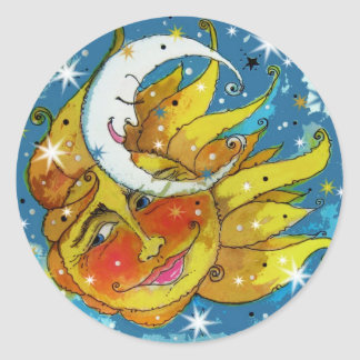 Whimsy Sun and Moon Round Sticker