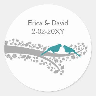 whimsy tree blue lovebirds wedding favor stickers
